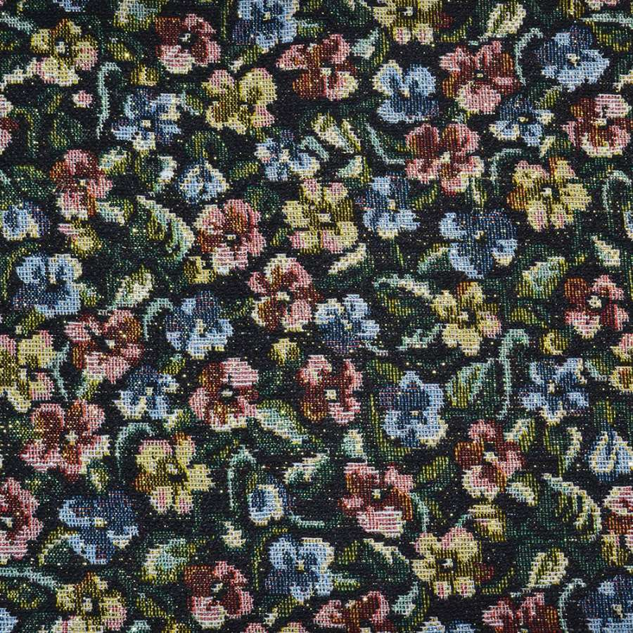 гобелен черный с разноцветными цветами и люрексом ш.150