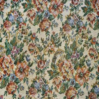 Гобелен бежевый светлый с цветами и золотистым люрексом ш.153