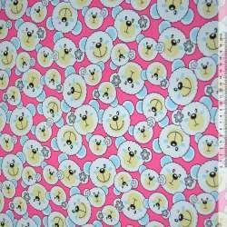 Ткань мебельная малиновая с белыми мишками ш.150