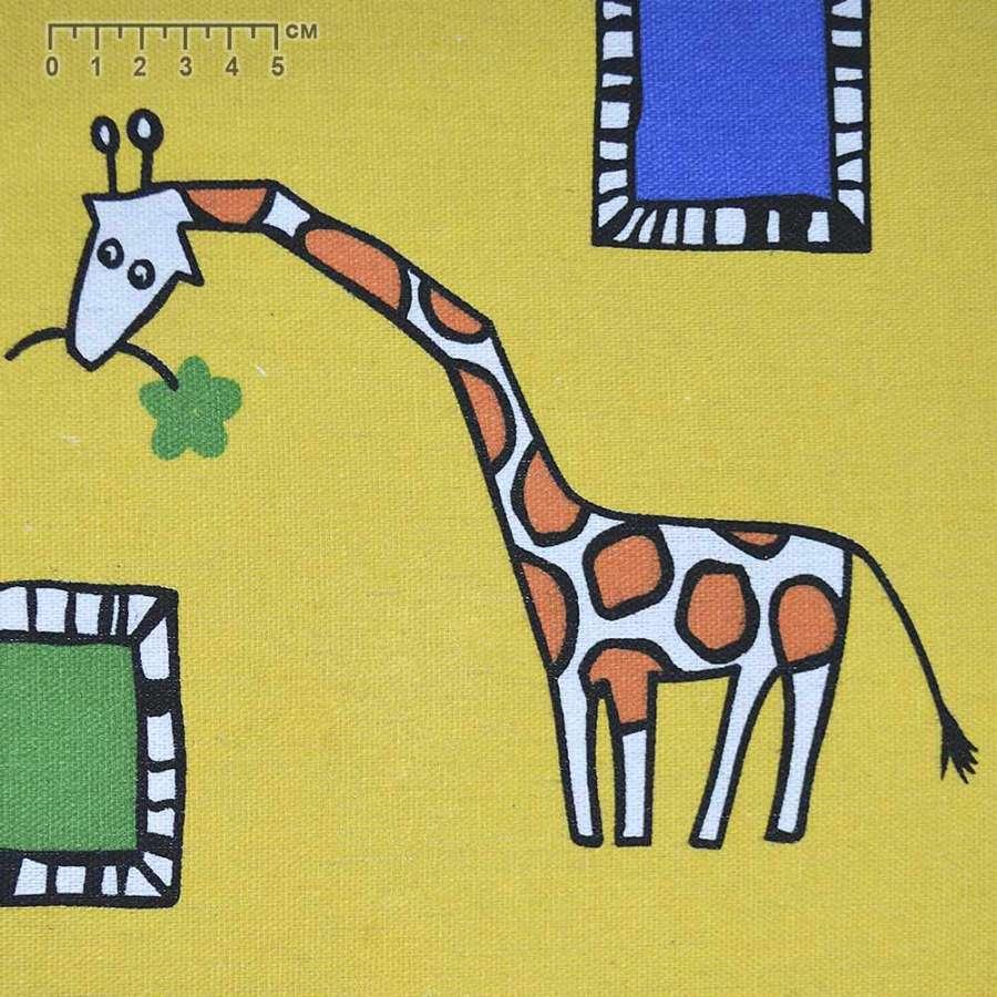Ткань мебельная желтая с жирафами ш.150