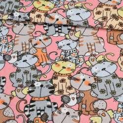 Деко-коттон коты на розовом фоне, ш.150