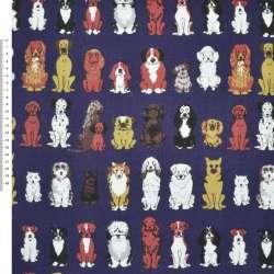 Деко-котон синій з собаками ш.150