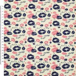 Деко-коттон шампань с розово-синими губками ш.150