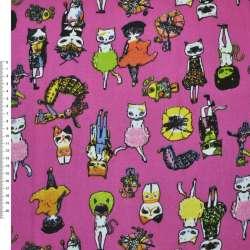 Деко-коттон малиновый с котиками ш.150