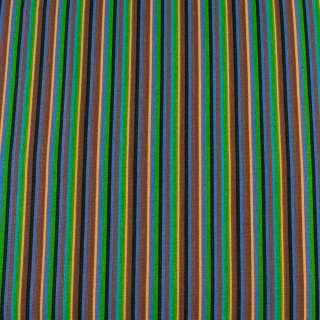 Деко-коттон коричнево-синие+черно-персик. узкие полоски ш.150