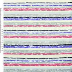 Деко-коттон серо-голубые+малиново-кремов. полоски ш.150