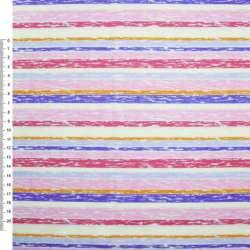 Деко-коттон розово-красные, молочно-голубые полоски ш.150