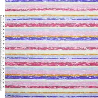 Деко-коттон розово-красные+молочно-голубые полоски ш.150