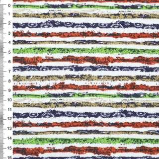 Деко-коттон оранж-белые+зелено-синие полоски с точками ш.150