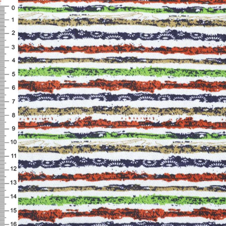 Деко-коттон оранж-белые, зелено-синие полоски с точками ш.150
