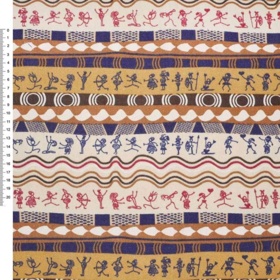"""Деко-коттон мол-синие+оранж-коричневые полоски """"египет"""" ш.150"""