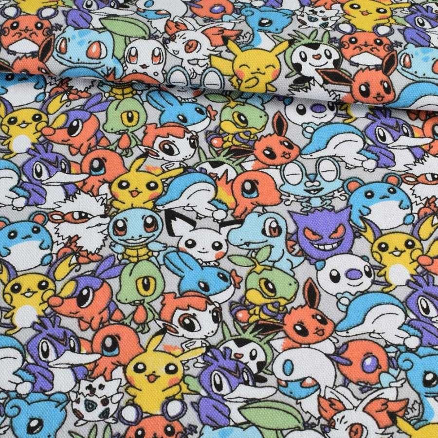 Деко-коттон покемоны на сером фоне, ш.150
