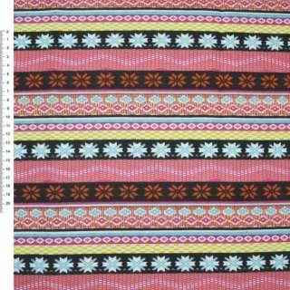 Деко-коттон корич-оранж+розово-черные полоски с орнамент.ш.150