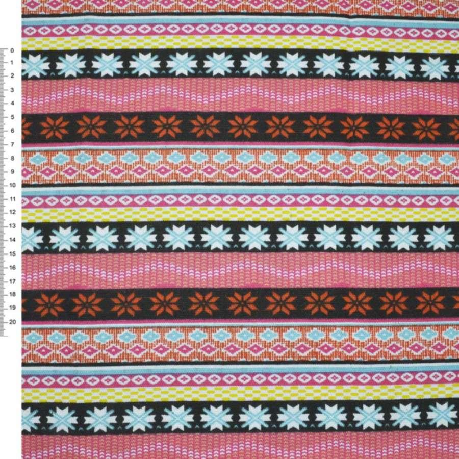 Деко-коттон коричнево-оранжевые, розово-черные полоски с орнаментом ш.150