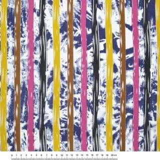 Деко-коттон сине-белые, желто-коричневые, малиново-черные полоски ш.150