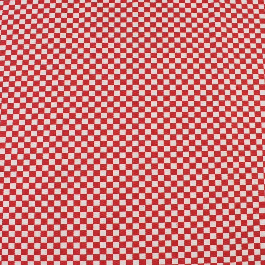 Деко-коттон красно-белая шахматка 6мм, ш.150