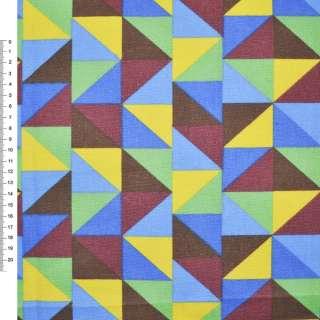 Деко-коттон желто-голубые+коричнево-зеленые треугольники ш.150