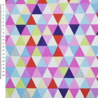 Деко-котон червоно-білі + рожево-блакитні трикутники ш.150