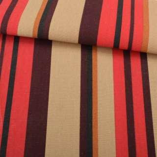 Деко-коттон коричнево-красные+горчичные полоски ш.150