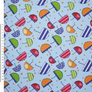 Деко-котон блакитний з різнокольоровими парасольками ш.150