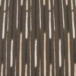 Деко-коттон коричневый в белые, бежевые, черные широкие штрихи, ш.150