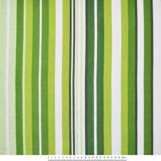 Деко-котон біло-зелені і темно-зелені смужки ш.150