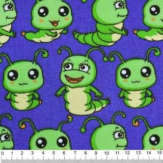 Деко-коттон синий светлый с зелеными гусеницами ш.150