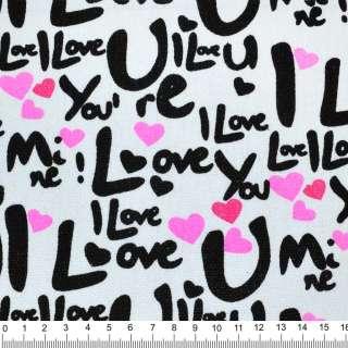 """Деко-коттон белый с черным """"I Love"""" ш.150"""