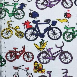 Деко-котон білий з різнокольоровими велосипедами ш.150