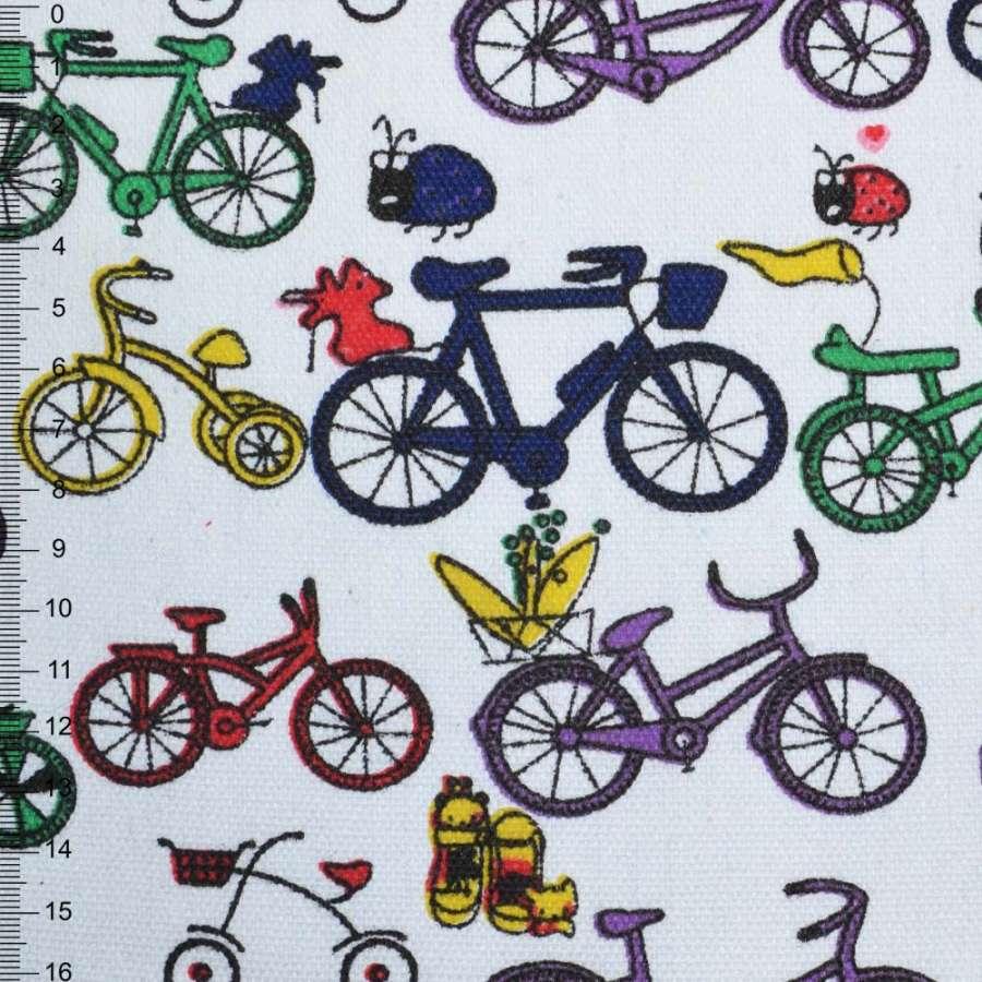 Деко-коттон белый с разноцветными велосипедами ш.150