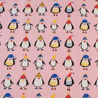 Деко-котон рожевий, пінгвіни в шапочках, ш.150