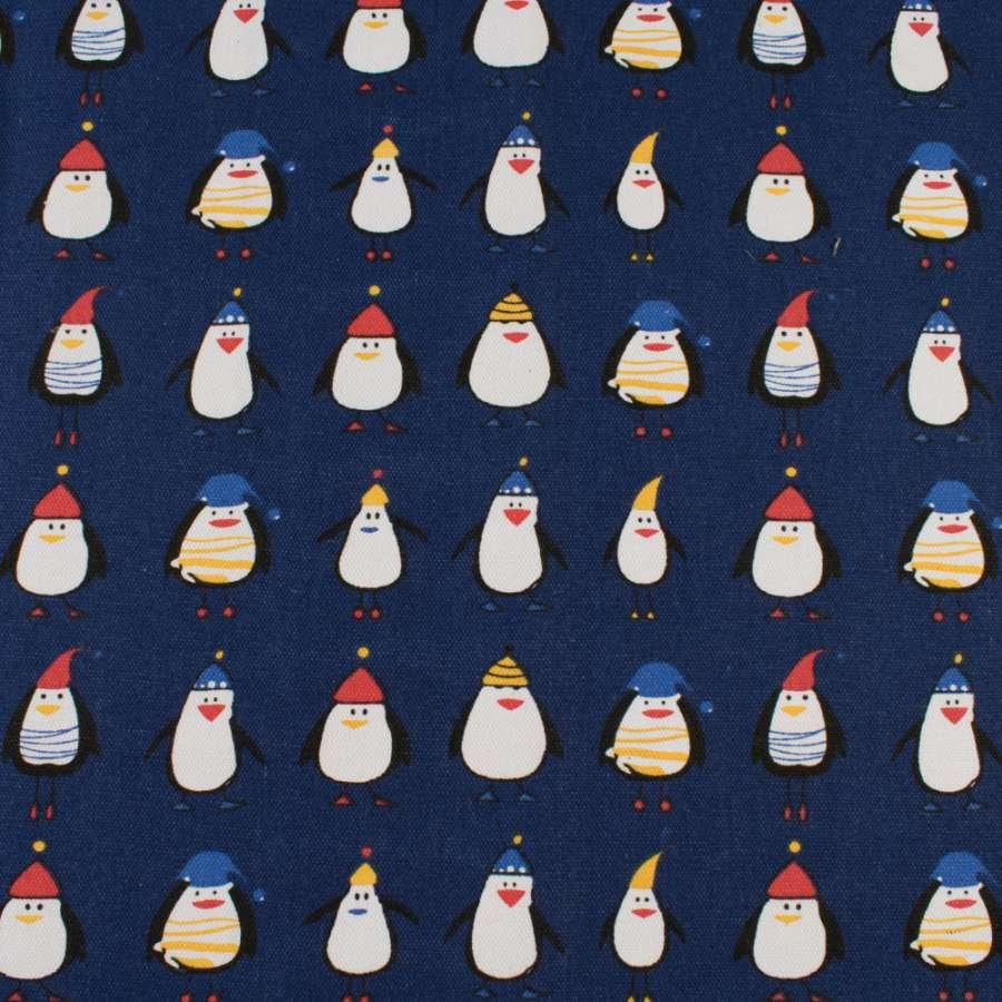 Деко-котон синій, пінгвіни в капелюшках, ш.150
