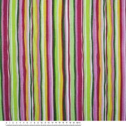 Деко-коттон малиновые, розовые, зеленые полоски ш.150
