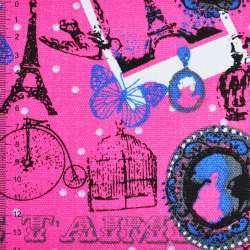 "Деко-коттон розовый ""Париж"" ш.150"