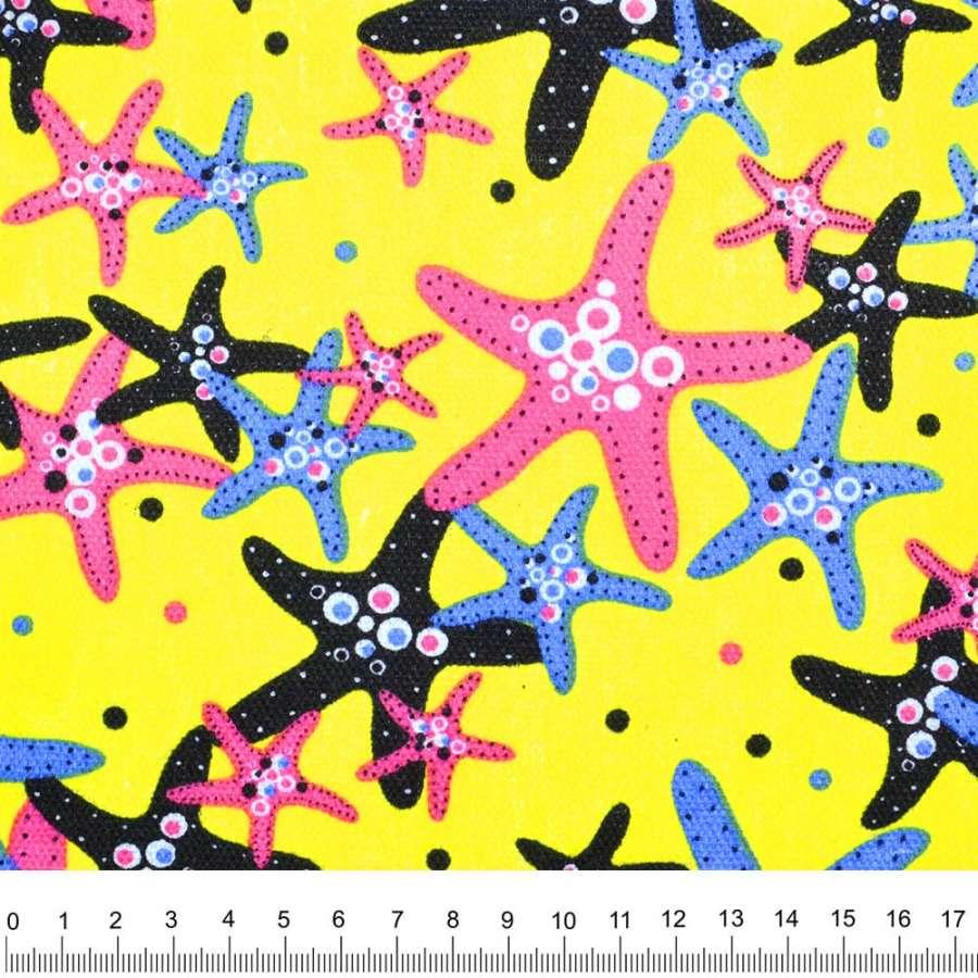 Деко-коттон желтый морские звезды ш.150