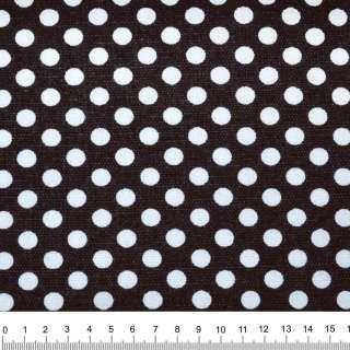 Деко-котон чорний в білий горох ш.150