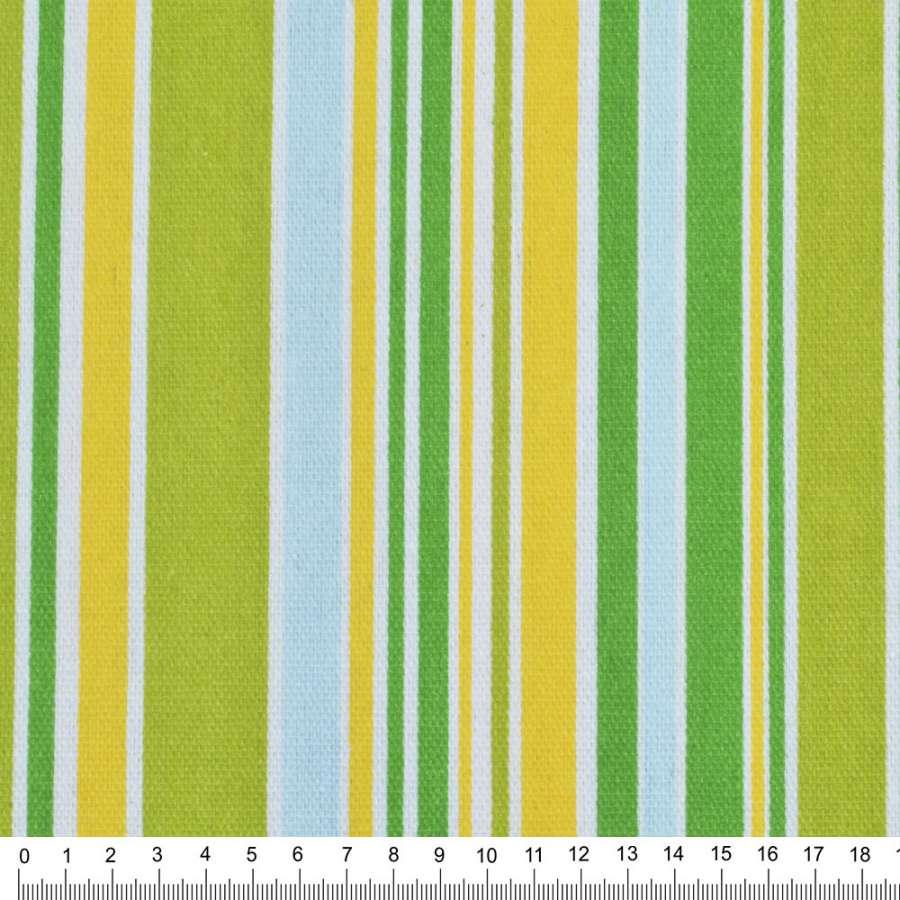 Деко-коттон салат-желтые+зелено-голуб. полоски ш.150
