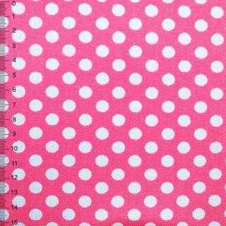 Деко-котон рожевий в білий горох ш.150