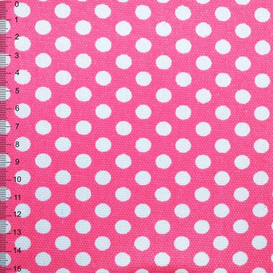 Деко-коттон розовый в белый горох ш.150