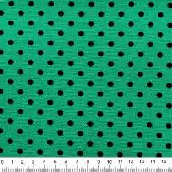 Деко-коттон бирюзово-зеленый в черный горох ш.150