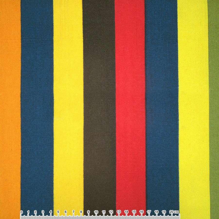 Деко-коттон желто-синяя, коричнево-красная, малиновая широкая полоска ш.150