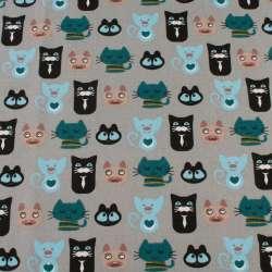 Деко-коттон серый, черные, бирюзовые, голубые кошки, ш.150