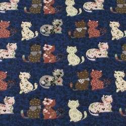 Деко-коттон синий в кошки пэчворк, ш.150