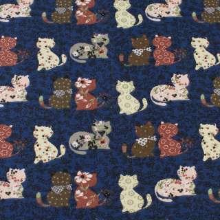 Деко-котон синій в кішки печворк, ш.150