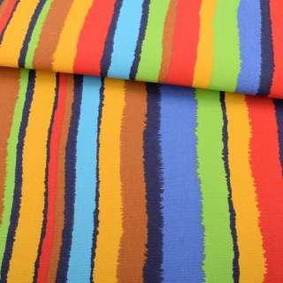 Деко-коттон желто-салатовые, красно-синие рваные полоски ш.150