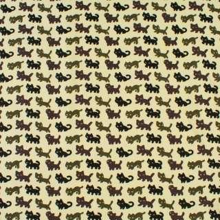 Деко-котон молочний в чорні, сірі, коричневі кішки, ш.150