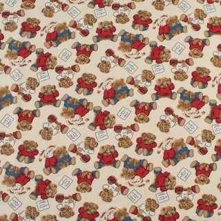 Деко-котон молочний, плюшеві ведмедики, зайчики, ш.150