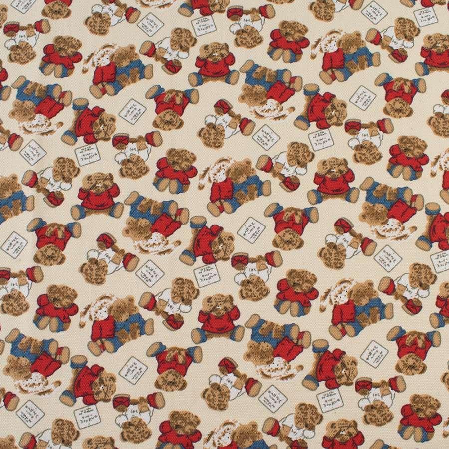 Деко-коттон молочный, плюшевые мишки, зайки, ш.150