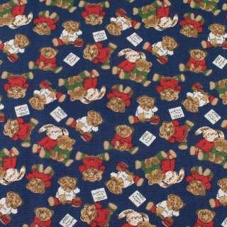Деко-котон синій, плюшеві ведмедики, зайчики, ш.150