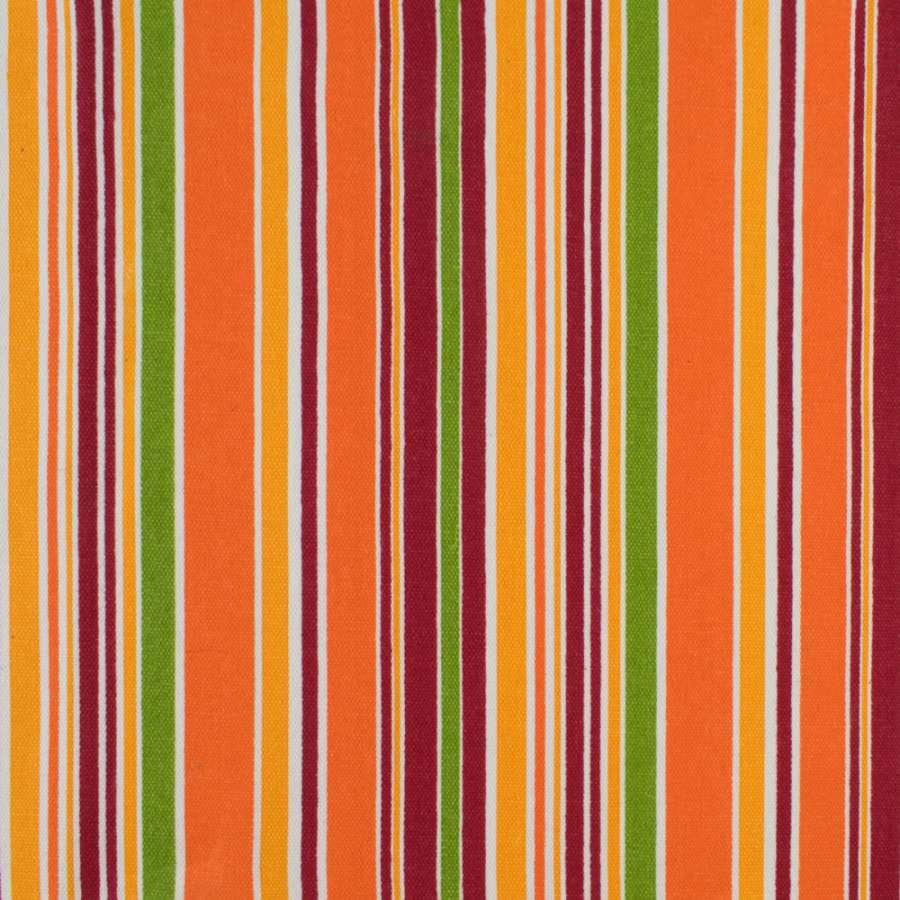 Деко-коттон салатово-оранжевые, бордово-белые полоски ш.150